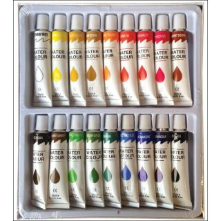 Aquarellfarben 18er Set  -  18 x 12 ml / Tube -