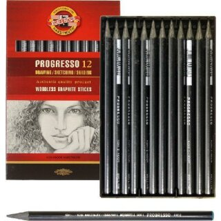 Progresso Graphit- Vollminenstifte - Gradation 2B -  im 12er Pack