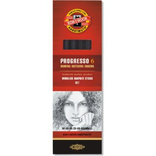 Progresso Aquarell Graphit- Vollminenstifte Set , 6er Set