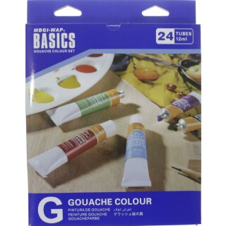 Temperafarben  / Gouache 24er Set  -  24 x 12 ml / Tube -
