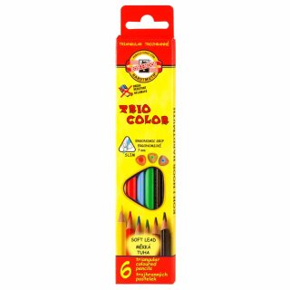 Buntstifte Triocolor Schul- Farbstifte 3,2 mm Mine  6er Pack